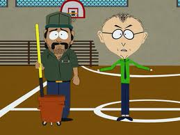 Just like Eli Manning, South Park Elementary's janitor, Mr. Venezuela, cleans up after others.